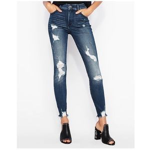 Express Stretch High Waisted Perfect Ripped Ankle Skinny Jean Frayed Hem 2 Short